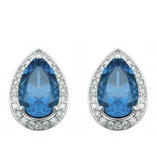 1953054d4545 18K white gold micropave setting blue topaz pear shape earring stud
